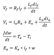 معادلات موتور DC در شبیه سازی موتور شنت با متلب