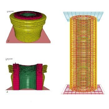 شبیه سازی مقاله تحلیل رفتار مکانیکی سازه های ساندویچی استوانه ای پر شده با فوم EVA با آباکوس