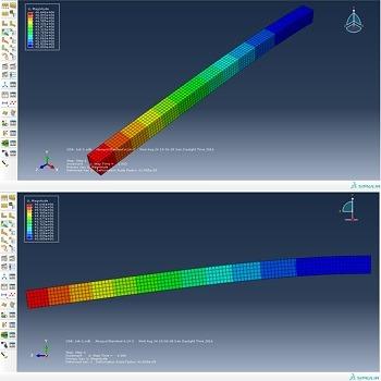 شبیه سازی و تحلیل تیر فولادی پر شده با بتن تحت بار جانبی با آباکوس