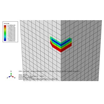 تحلیل رشد ترک در یک نمونه فولادی تحت تنش کششی و پیچشی هم زمان با آباکوس