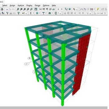 پروژه آماده طراحی ساختمان بتنی تجاری 6 طبقه با ETABS