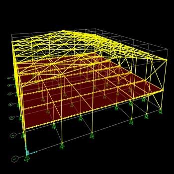 پروژه آماده طراحی و تحلیل سوله با SAP