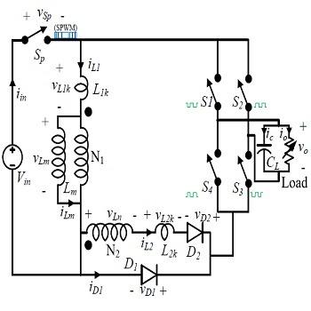 شبیه سازی مقاله مبدل القایی DC به AC ولتاژ بالا تک مرحله ای باک-بوست با متلب