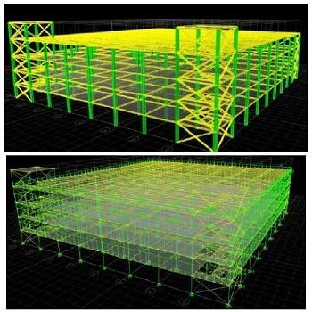 پروژه آماده طراحی و تحلیل ساختمان فولادی 4 طبقه اداری پارکینگ زیرزمین با ETABS و Safe