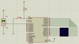 طراحی و شبیه سازی تابلو روان 8*8 با قابلیت نمایش دما با پروتئوس