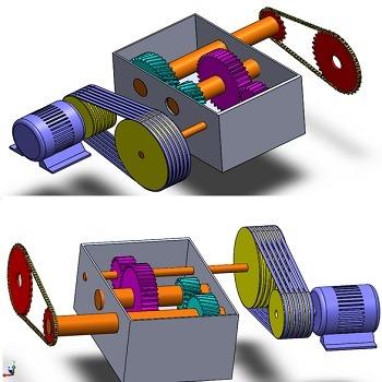 تحقیق طراحی جعبه دنده کاهنده سرعت با گیربکس، تسمه و زنجیر
