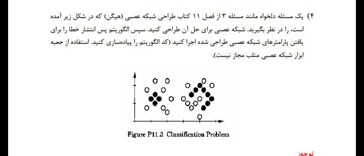 حل مساله 3 از فصل 11 کتاب طراحی شبکه عصبی هیگن و الگوریتم پس انتشار خطا با متلب