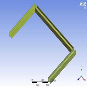 طراحی سه تیر I شکل عمود برهم در محیط انسیس
