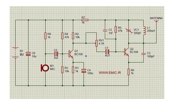 پروژه طراحی مدار رادیو AM با پروتئوس