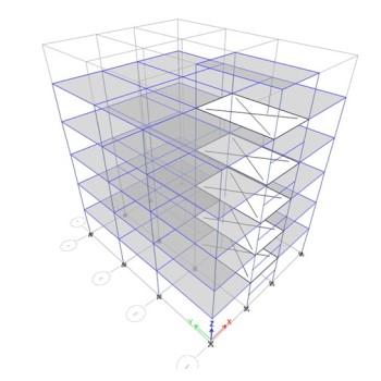 پروژه تحلیل ساختمان 5 طبقه طبق 25 گام با ایتبس + فایل اتوکد نقشه