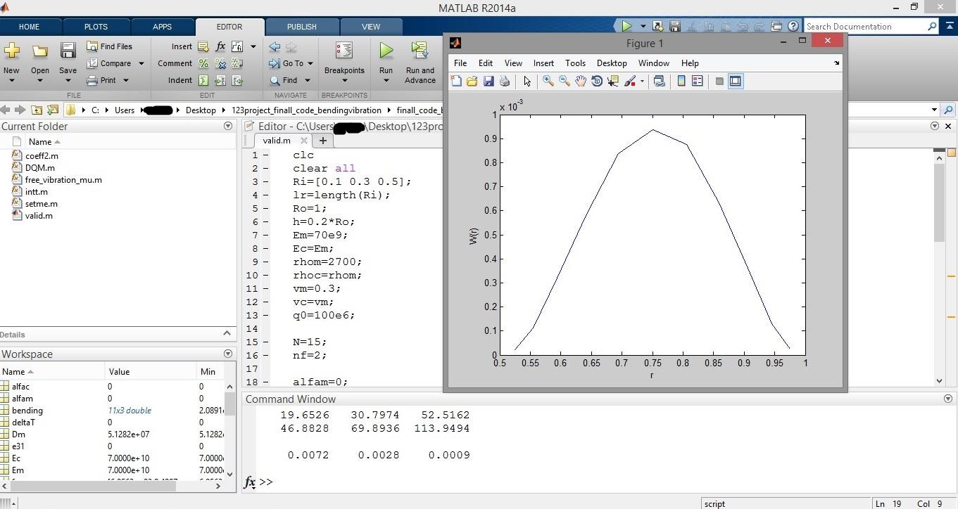 پروژه تعیین فرکانس های طبیعی سیستم و تعیین جابه جایی به روش DQM با متلب